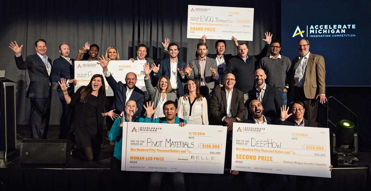 Group of Accelerate Michigan Winners gathered on stage